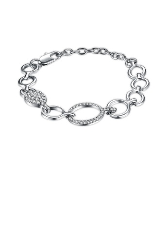 Glamorousky white Simple Circle Bracelet with Austrian Element Crystal 5FE1BACC81BAC4GS_1