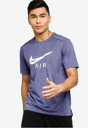 Nike blue Miler Short-Sleeve Cool Running Top 5BE71AA350AD3BGS_1