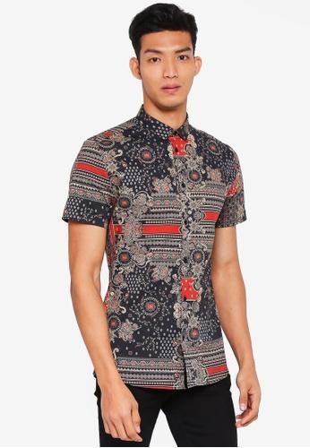 River Island black Short Sleeve Black Scarf Print Shirt 469F2AABE0BC70GS_1