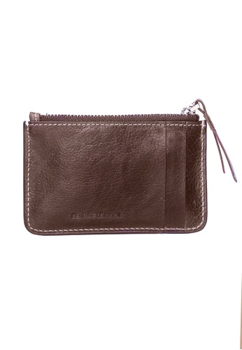 ENZODESIGN brown Vintage Leather Card Holder Zip Pouch With Key Ring Attachment EN115AC14ZVTPH_1