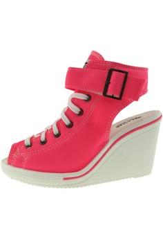 新款韩国鞋775-Open時尚帆布布混合女粉紅色 US Women Size