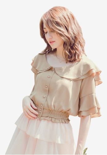 YOCO beige Peter Pan Collared Blouse BECD9AAA81628AGS_1
