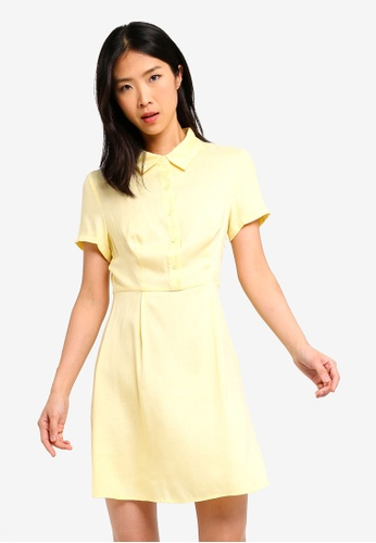 ZALORA BASICS yellow Basic Pleated Shirt Dress 30927AA72F5C83GS_1