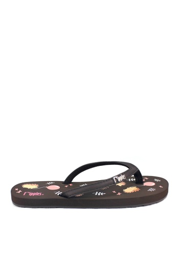 Ripples brown Hedgehog Flip Flops 36380SH4D4CC87GS_1