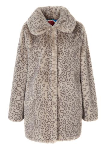 LANG&LU grey Leopard Singled Button Coat EC567AA888D566GS_1