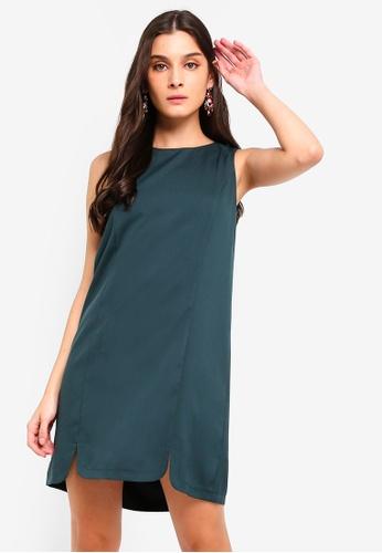 ZALORA green U Slits Detail Shift Dress C25FCAA29C649BGS_1