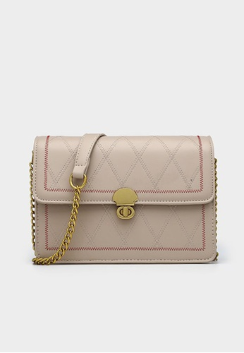Lara beige Women's Fashionable PU Leather Flap Chain Cross-body Bag - Khaki AADA9AC02E375AGS_1