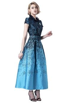 be4ab265bf Evening by Karen Liu green Ruffle Collar Turquoise Black Print Maxi Dress  5CF8DAABE9E440GS 1