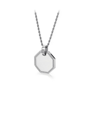 Glamorousky white Fashion Simple Geometric Diamond Shaped 316L Stainless Steel Pendant with Cubic Zirconia and Necklace 95FDDAC5B5C7CBGS_1