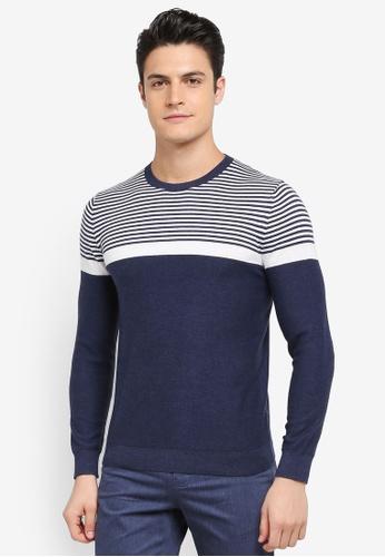 G2000 navy Stripe Block Cool Jade Sweater 4CFF8AAD51AAFEGS_1