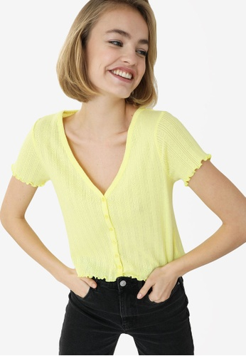 PIMKIE yellow Lettuce Trim Button Ribbed Top 20690AA8076031GS_1