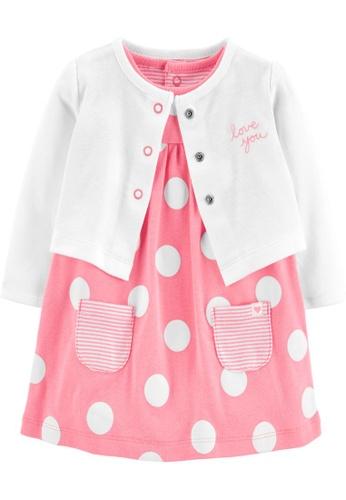 Carter's pink CARTER'S Girl Pink Bodysuit Dress & Cardigan Set FEAF3KA8285138GS_1