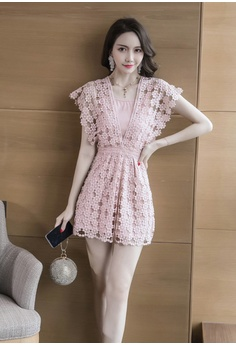 9364dbc055e Sunnydaysweety New Pink Lace Cap Sleeves Jumpsuit CA030706 HK  399.00. Sizes  S M L XL