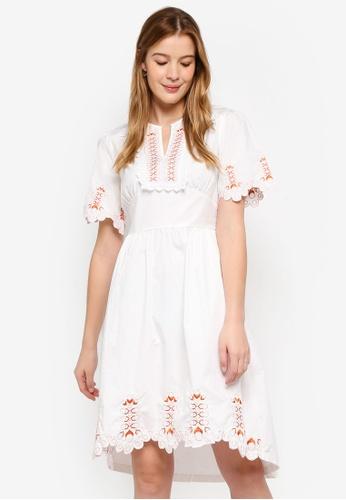 Haute Kelly white Hyun Embroidery Dress 301D2AA0E8324CGS_1