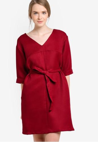 V領五分袖esprit品牌介绍連身裙, 服飾, 短洋裝