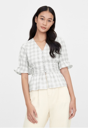 Pomelo grey Purpose Gingham Cinched Blouse - Light Grey CBC93AAE56628AGS_1