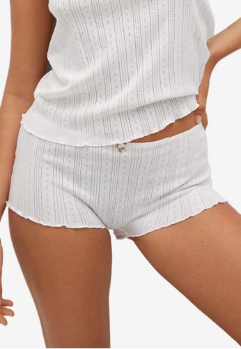 Mango white Cotton-Blend Pyjama Shorts 24BB1AAFABE76CGS_1