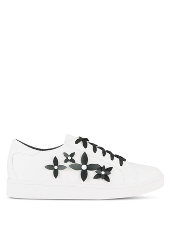 Something Borrowed white Flower Applique Lace Up Trainers D4AE4SH44EF37CGS_1