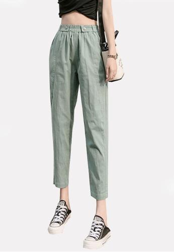 Twenty Eight Shoes green VANSA Cotton Linen High Waist Causal Pants  VCW-P2303 413CEAA73FAC4DGS_1