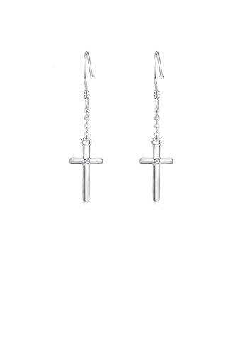 Glamorousky silver 925 Sterling Silver Simple Fashion Cross Earrings with Cubic Zirconia 3F28AAC764A7DBGS_1
