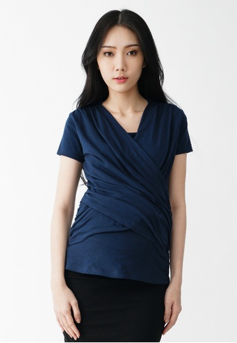 9months Maternity navy Navy Nursing Top with Baby Wrap 3E1C8AA8AEEF69GS_1