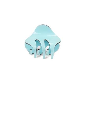 Glamorousky silver Simple and Cute Light Blue Geometric Small Hair Claw E2503AC0553DA7GS_1