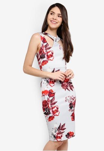 Goddiva grey and multi Floral Print Cut Out Midi Dress 7303EAAE717CF0GS_1
