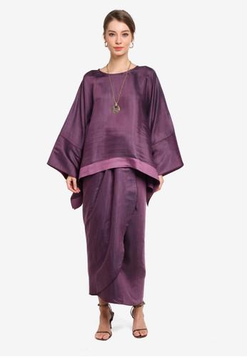 Yans Creation purple Anggun Sleeve Kaftan Set 29F86AA2B0087AGS_1