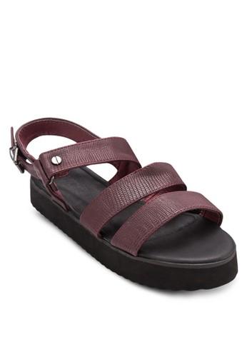 Tully 暗紋esprit招聘多帶厚底平底涼鞋, 韓系時尚, 梳妝