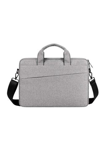 Lara grey Plain Oxford Cloth Cross-body Laptop Bag - Light Grey (13.3inches) EBF46AC4F9D772GS_1