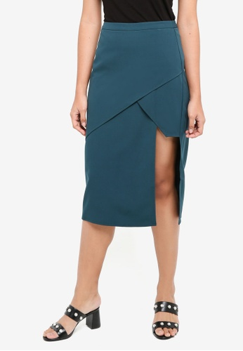 Something Borrowed green Asymmetric Panelled Midi Skirt E0409AA0418A97GS_1