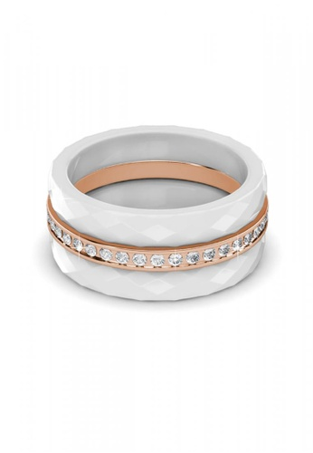 Her Jewellery white Swarovski® Crystals - Tri Ceramic Ring (White)(18K White Gold Plated) Her Jewellery HE581AC0RA1BMY_1