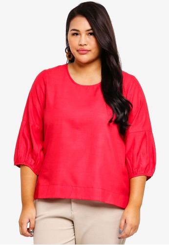 Ex'otico pink Plus Size 3/4 Puff Sleeve Blouse 0A0DFAAB399A7EGS_1