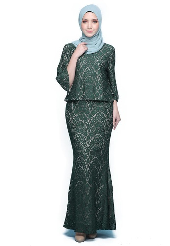 Kurung Iris from Seri Maharani in green_1