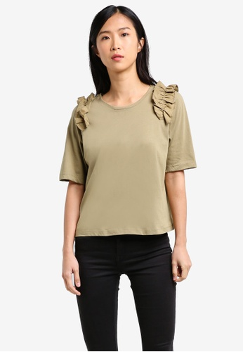 Mango beige Contrasting Frilled T-Shirt MA193AA0RXTSMY_1
