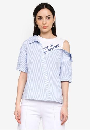 Shopsfashion blue Asymmetric Faux 2-Piece Blouse 7E3F4AA3F25670GS_1