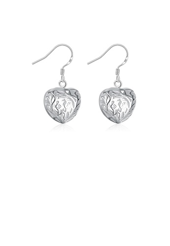 Glamorousky silver Simple and Romantic Three-dimensional Heart-shaped Hollow Earrings 10556ACBAC4894GS_1
