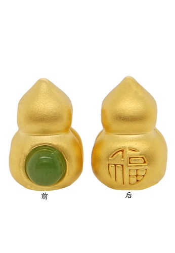 LITZ green and gold LITZ 999 (24K) Gold and Jade Gourd Charm D3353AC80755E6GS_1