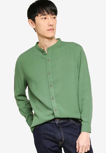 ZALORA BASICS green Basic Oversized Grandad Collar Shirt 629E1AAE06F950GS_1