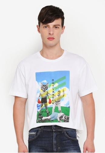 United Colors of Benetton 白色 逗趣貓咪拳擊圖案棉T 78581AA645D9AFGS_1