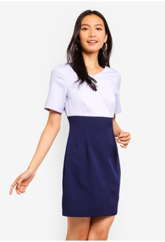 97d0a286c17 ZALORA blue and navy V-Neck Short Sleeves Sheath Dress D410EAA1CBACB2GS 1