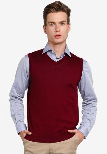 Gay Giano red Extra Fine V Neck Knit Vest 1AF7FAAF51CE10GS_1
