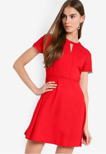 ZALORA 紅色 喇叭裙洋裝 C6894AABE30B21GS_1