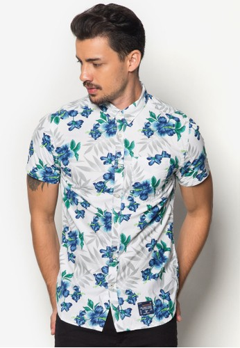 Miami esprit outlet 台灣印花牛津短袖襯衫, 服飾, 襯衫