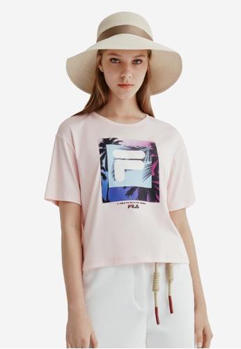 FILA pink Theme Printed F-box Logo Cotton T-shirt 04A24AA5B91F97GS_1