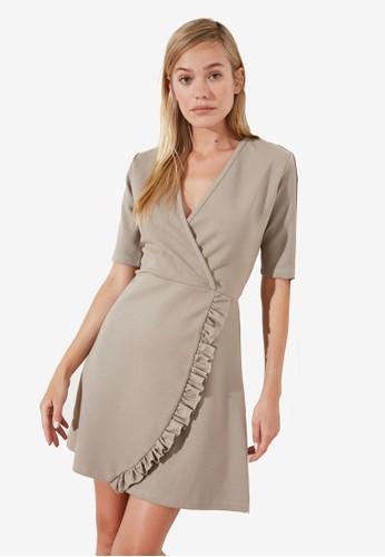 Trendyol beige Frill Trim Detail Wrap Dress 287C1AA923A6E4GS_1