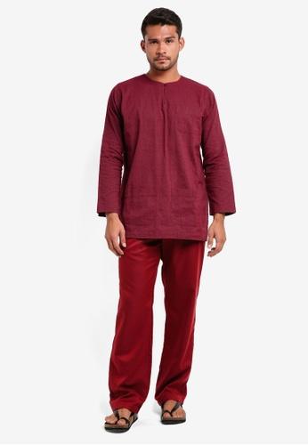 Lubna red Stripe Baju Melayu Teluk Belanga 9BC2DAA0AEBA25GS_1