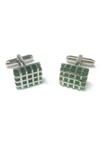 Splice Cufflinks green and silver Honeycomb Green Crystal Cufflinks SP744AC47FRWSG_1