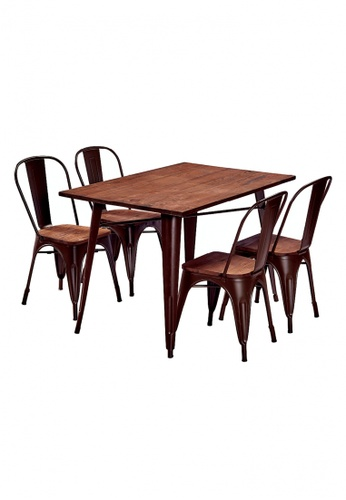 Choice Furniture brown Choice Furniture - Tolix Dining Set DF242HLE057FEFGS_1