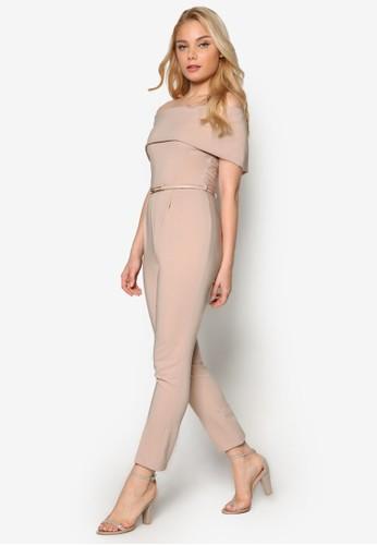 露肩V背短袖連身褲esprit 兼職, 服飾, 服飾